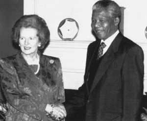 Maggie Thatcher with Nelson Mandela