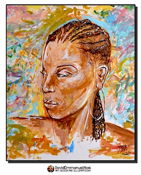 David Emmanuel Noel- Woman in Thought, david emmanuel noel, art by david emmanuel noel, figurative art, acrylic paintings, British artists, London Artists, New York Artists, Black British Art, Black Artists, Black Painters, Black Visual Artists,