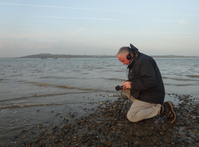 Mark Ware recording sound at Oare Marshes Kent