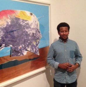 Robel Temesgen with his work entitled 'Adbar 2'