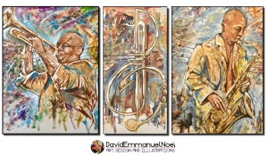 David Emmanuel Noel, Art by David Emmanuel Noel, Jazz & Art, Pictures at an African Exhibition, Darryl Yokley, Art by David Emmanuel Noel, Artist David Emmanuel Noel,